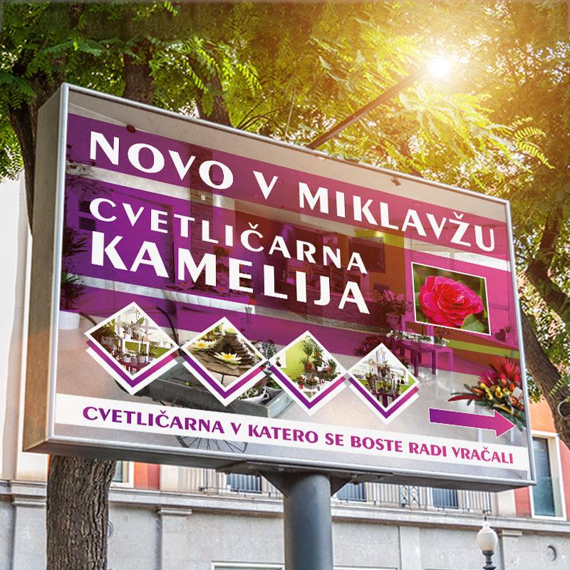Outdoor horizontal billboard with natural landscape mockup