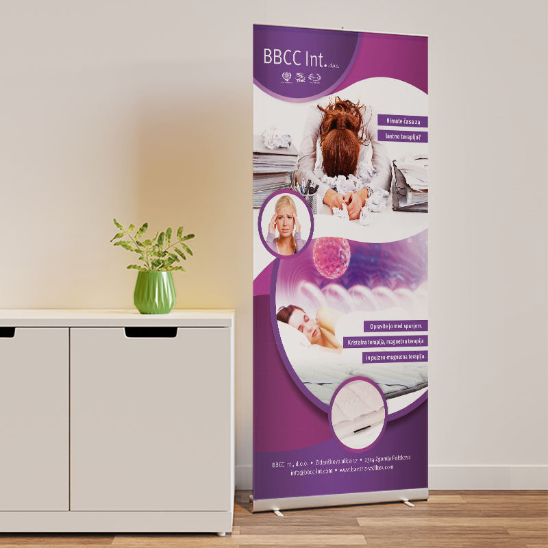Roll up banner mockup in interior scene next to the cupboard