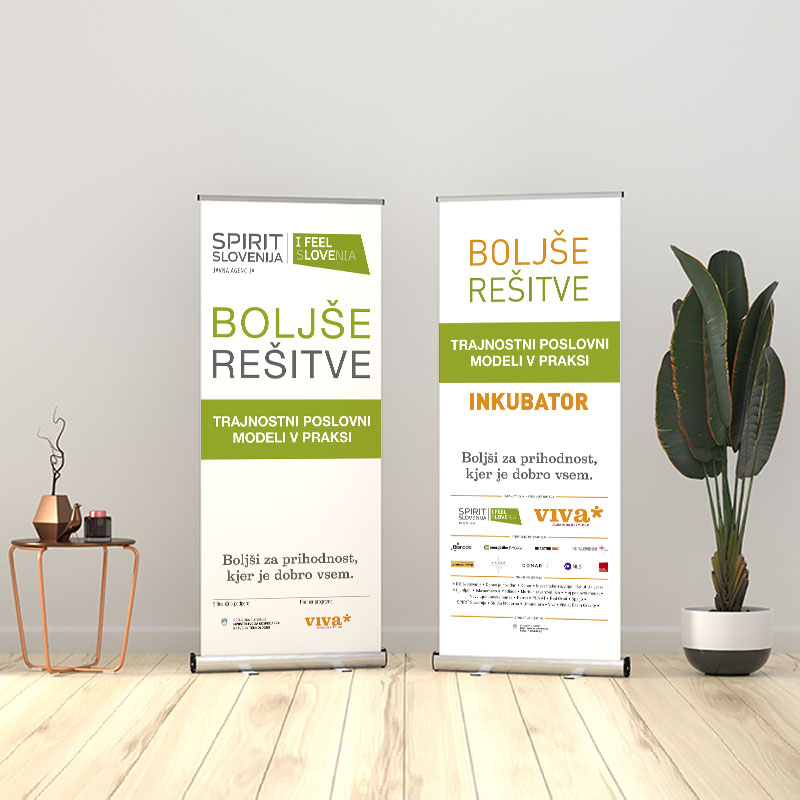 Roll Up Banner Stand Mockup in living room. Template PSD.